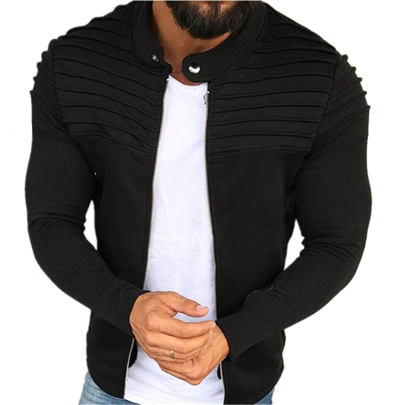 Spring Autumn New Casual Jacket Men Fashion Zipper Jacket Male Streetwear Long Sleeves Solid Coat Men Stripe Brushed Clothing