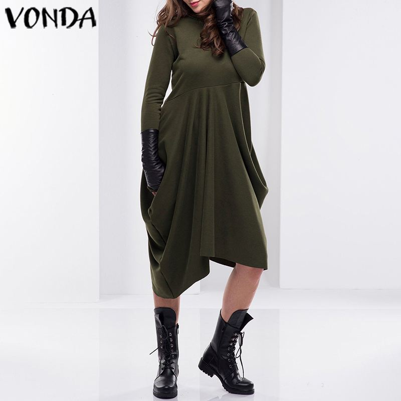 Осенне-зимнее платье VONDA 2019 женский свитер пуловер Повседневный свободный длинный рукав Ассиметричное платье с капюшоном размера плюс Vestidos