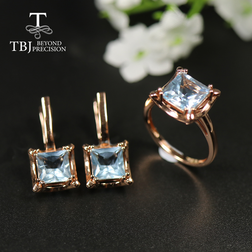 2020 New Natural 8ct Sky Blue Topaz Jewelry 925 Sterling Silver Rose Gold Square Shape Gemstone Jewelry For Girls Nice Gift