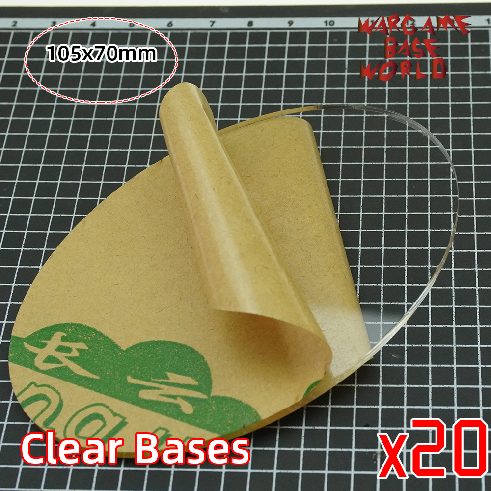 TRANSPARENT / CLEAR BASES For Miniatures - Wargame Oval Bases 105x70mm Oval Bases