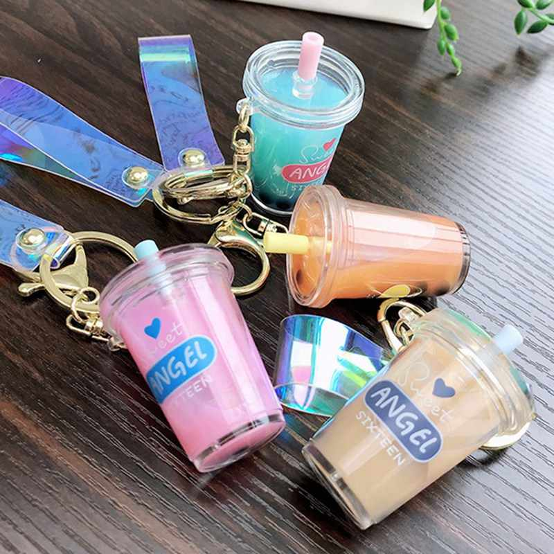 Creative Mini Soft Drink Keychain Coconut Milk tea Beverage Bubble Tea Acrylic Moving Liquid oil Drop decompression Jewelry gift