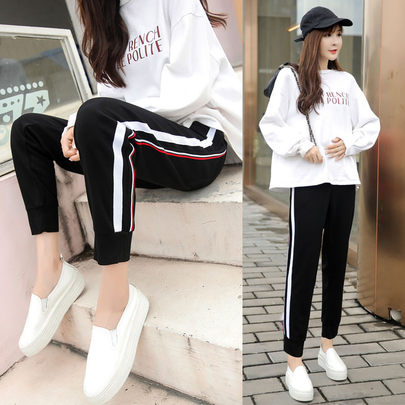 Thin Type for Spring And Autumn Loose-Fit Capri Athletic Pants Skinny Pants Versitile Fashion Casual Pregnant Women Maternity