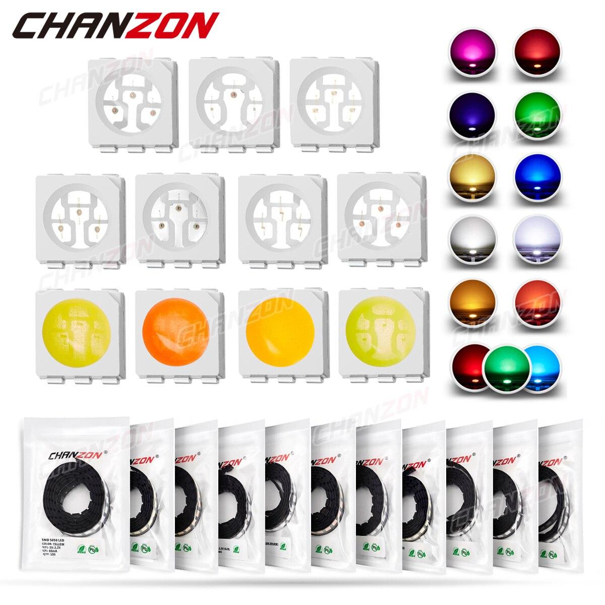 100 шт. SMD 5050 (2020), светодиодные излучающие диоды, чип лампы, теплый холодный белый, красный, зеленый, синий, желтый, оранжевый, УФ, розовый, RGB, 3 в, ...