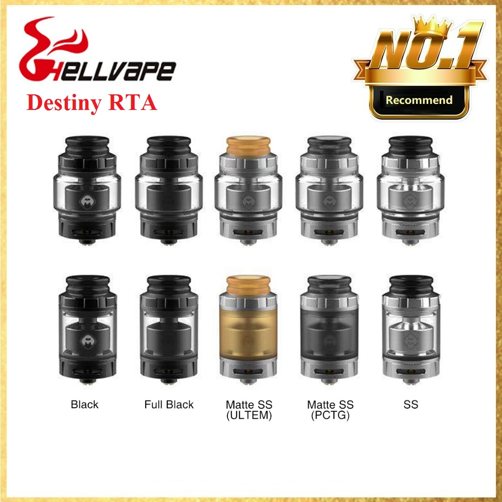 Hot Sale! 2ml/4ml Original Hellvape Destiny RTA Atomizer Wi/ Single Coil Building & 24mm Diameter E-cig Atomizer VS Dead Rabbit