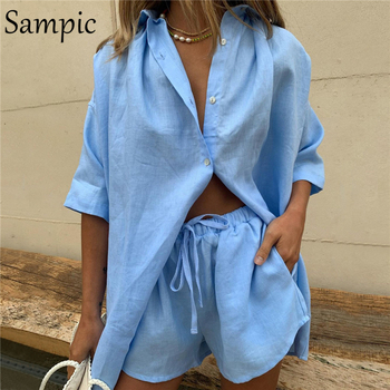 Sampic Summer Tracksuit Women Lounge Wear Shorts Set Short Sleeve Shirt Tops And Loose Mini Shorts Suit Two Piece Set 15