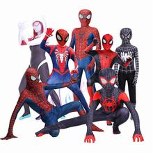 New 2019 Kids Adult Miles Morales Spiderman PS4 Homecoming Costume Iron Spider Gwen Cosplay Suit Fancy Halloween Man