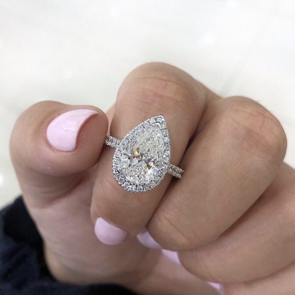 Classic Drop Rings Finger 925 Sterling Silver Moissanite Wedding Engagement Cocktail Women WHITE PINK TOPAZ Drop Ring Jewelry