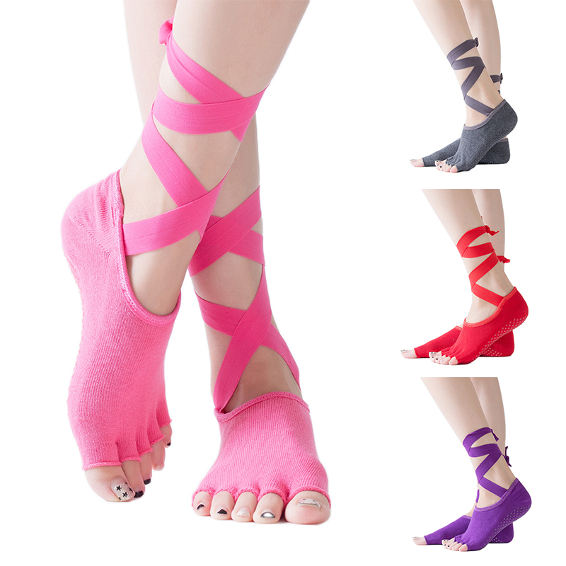 Colors Women Yoga Backless Five Toe Anti-Slip Ankle Grip Socks Dots Pilates Fitness Gym Socks Ladies Sports Strap Cotton Socks