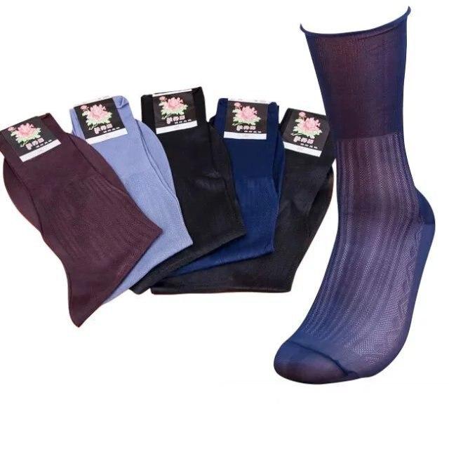 10pairs High Quality Men Sheer Silk Black Socks Transparent Sexy Men Dress Suit Formal Nylon Socks