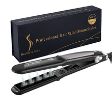 Professional steam hair straightener vapor electric hair straightening iron steam flat iron Ceramic hair styling tools ushow professional ceramic electric hair straightener brush detangling hair straightening iron comb smooth brush styling tools