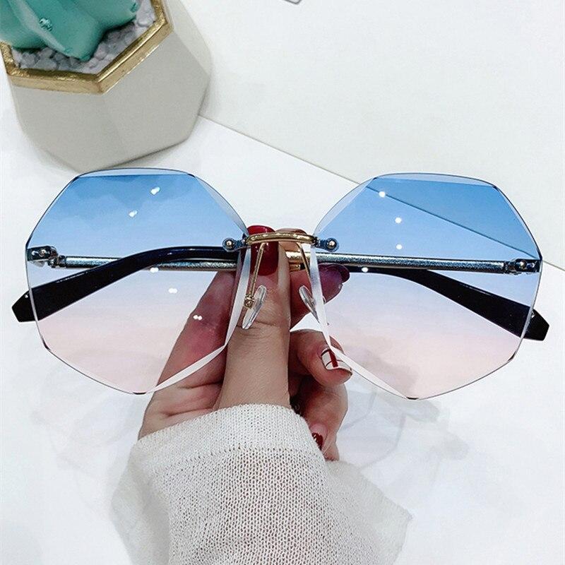 Солнцезащитные очки без оправы UV400 женские, модные брендовые дизайнерские градиентные очки с режущими линзами, металлические, без оправы