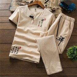 Летний мужской костюм с коротким рукавом, брюки, мужская китайская Молодежная Футболка с v-образным вырезом, тонкая летняя мода из двух пред...