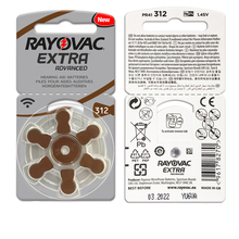 Hearing Aid Batteries 30PCS/5cards RAYOVAC EXTRA A312/312/PR41 Zinc Air batterie 1.45V   Size 312 Diameter 7.9mm Thickness 3.6mm