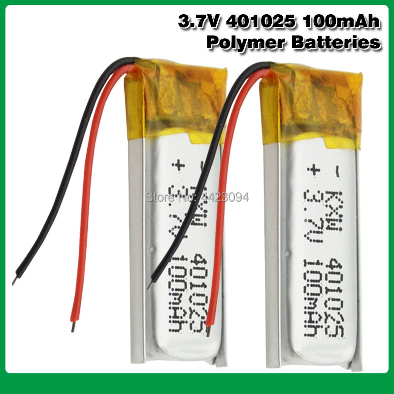 3.7V 100mAh <font><b>401025</b></font> PLIB Polymer Lithium Li-ion Battery for GPS MP3 MP4 MP5 DVD Bluetooth Model Toy Mobile Bluetooth image