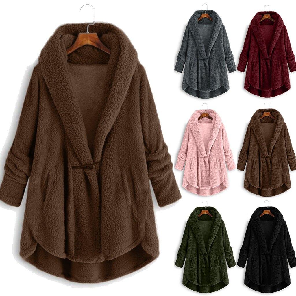 Winter Casual Faux Fur Coat Women Plus Size Horn Button Plush Tops Hooded Loose Cardigan Wool Coat Winter Jacket T3