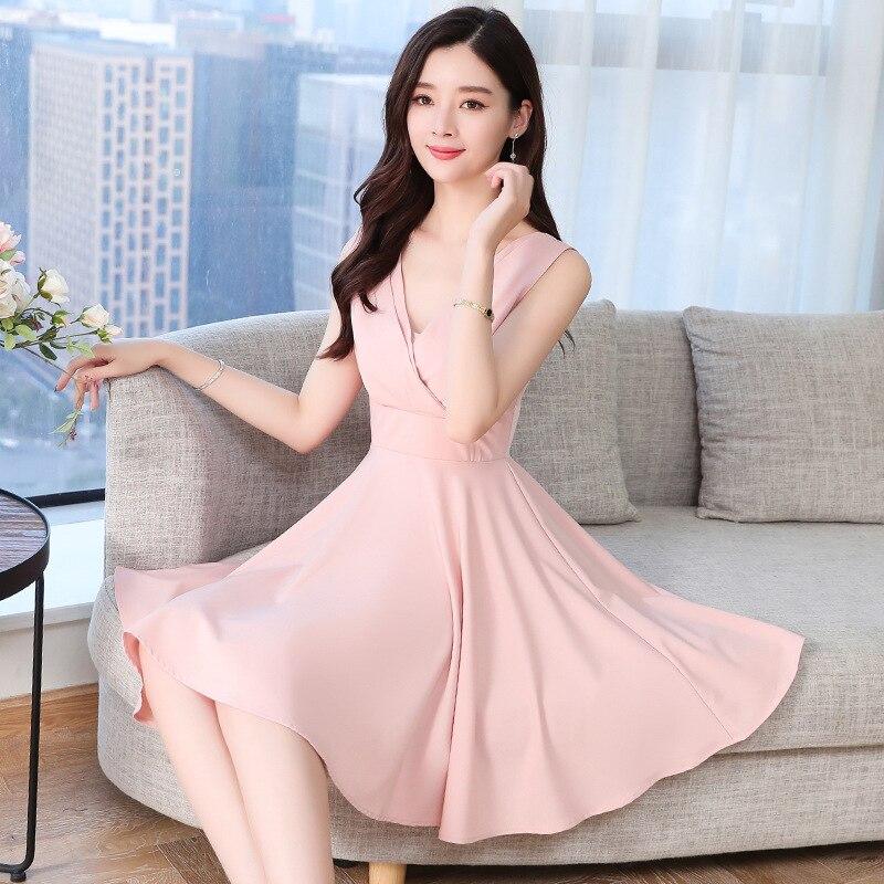 Skirt Fairy Immortal MORI Series 2019 Summer Korean-style High-waisted Mid-length Slimming V-neck Strapped Dress Women's