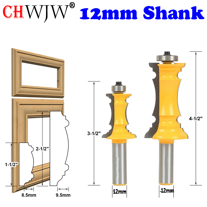 CHWJW 1-2PCS 12mm Shank Miter Frame Molding Router Bit Line Knife Door Knife Tenon Cutter For Woodworking Tools