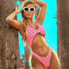 Pink Polka Dots One-Piece Open Front Swimsuit 1