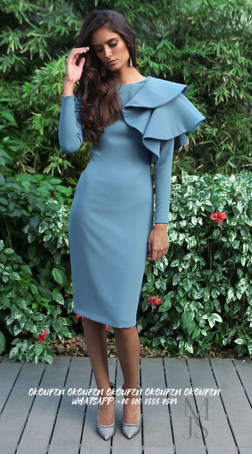 2020 Modest Mother Of The Bride Dresses For Wedding Guest Sheath Long Sleeve Knee Length Crew Custom Made Ruffles On Shoulder