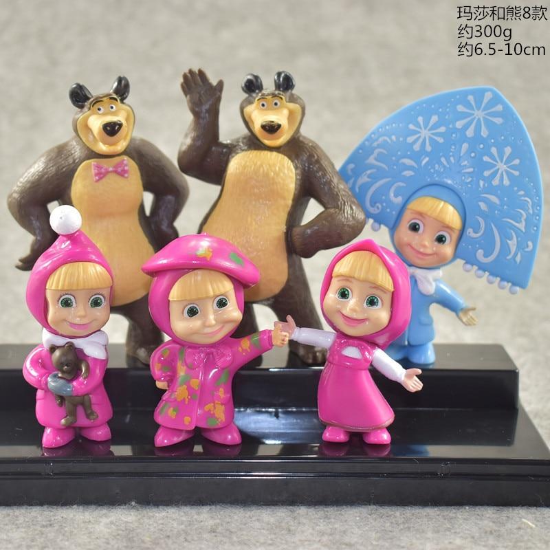 Masha And Bear Toy 6 Pieces/set Figure Doll Cake Decoration Masse Toys Bear Masshe Action Figure Creative Bear Dolls For Kids