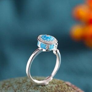Image 4 - BALMORA 100% Real 925 Sterling Silver Buddhist Rings For Women Lady Rotating Ring Tibetan Prayer Mantra Ring Good Luck Ring Gift