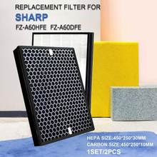 Для Sharp Filter FZ-A60HFE FZ-A60DFE, сменный HEPA и фильтр с активированным углем для KC-A60T KC-A60E KC-860E KC-860U
