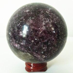Image 4 - Natural lepidolite pedra bola de cristal casa decoração esfera cura cristais