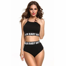 High Waist Bikini Croppe Bikinis 2018 Letter Bikini Set Women Sport Suit Swimsuit Teens Junior Swimming Beachwear Bathing Suit(China)