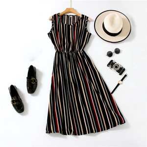 Summer Fashion Women Vacation Beach A-Line Dress Casual Sleeveless Slim Fit O-Neck Ladies Chiffon Dresses