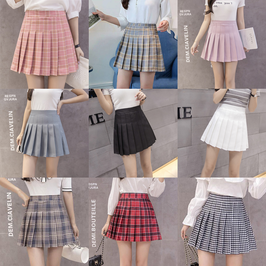 12colors Women High Waist Tight Sexy Pleated Skirt A-line Japanese Student Girls School Uniform Summer Outfit With Safety Pants