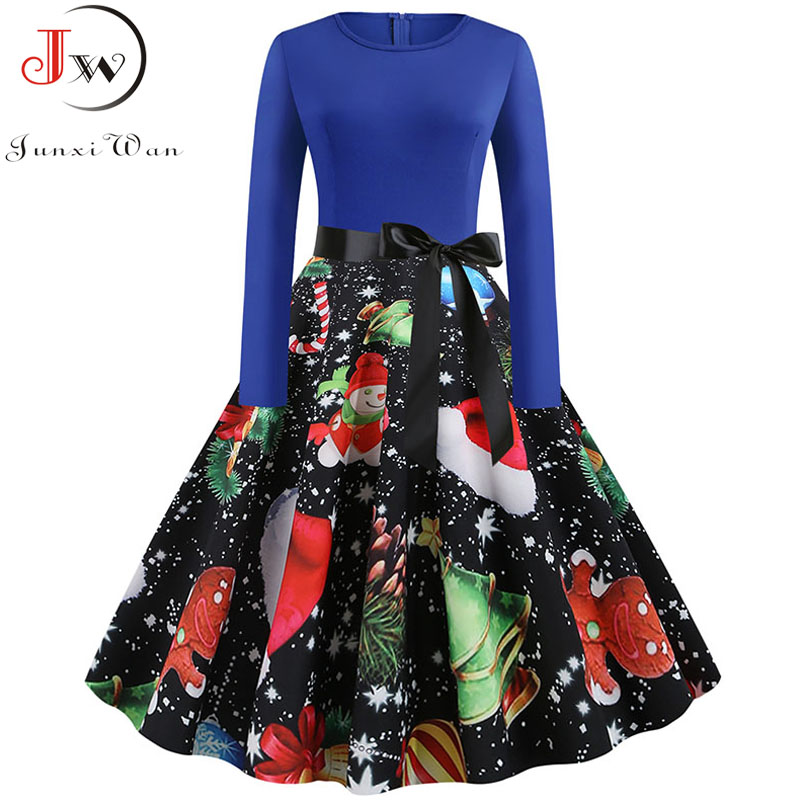 Women Autumn Winter Christmas Dress Plus Size Casual Print Long Sleeve A-line Elegant Vintage Party Dresses Vestidos Robe Femme