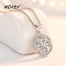 NEHZY – collier en argent Sterling 925 pour femmes, pendentif rond en cristal Zircon, rétro Simple, haute qualité, 45CM, à la mode, nouvelle collection
