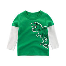 купить 2019 Autumn Cartoon Dinosaur Children Long Sleeve T-shirts  100% Cotton Girls & Boys Tops Tees Kids Casual T-Shirt For Boys дешево
