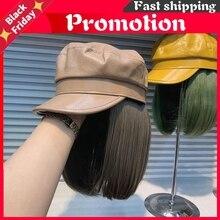 202011-Yuchun53299063 Fashion Pu Hat Patchwork Cool False Hair Lady Service Octagonal Hat Women Leisure Visors Cap