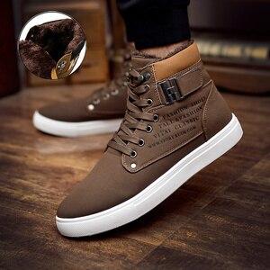 Image 3 - Comfortabele Hoge Top Merk Solid Canvas Mannen Sneaker Schoenen Nieuwe Warme Winter Platform Sneakers Mannen Casual Schoenen Drop Verzending
