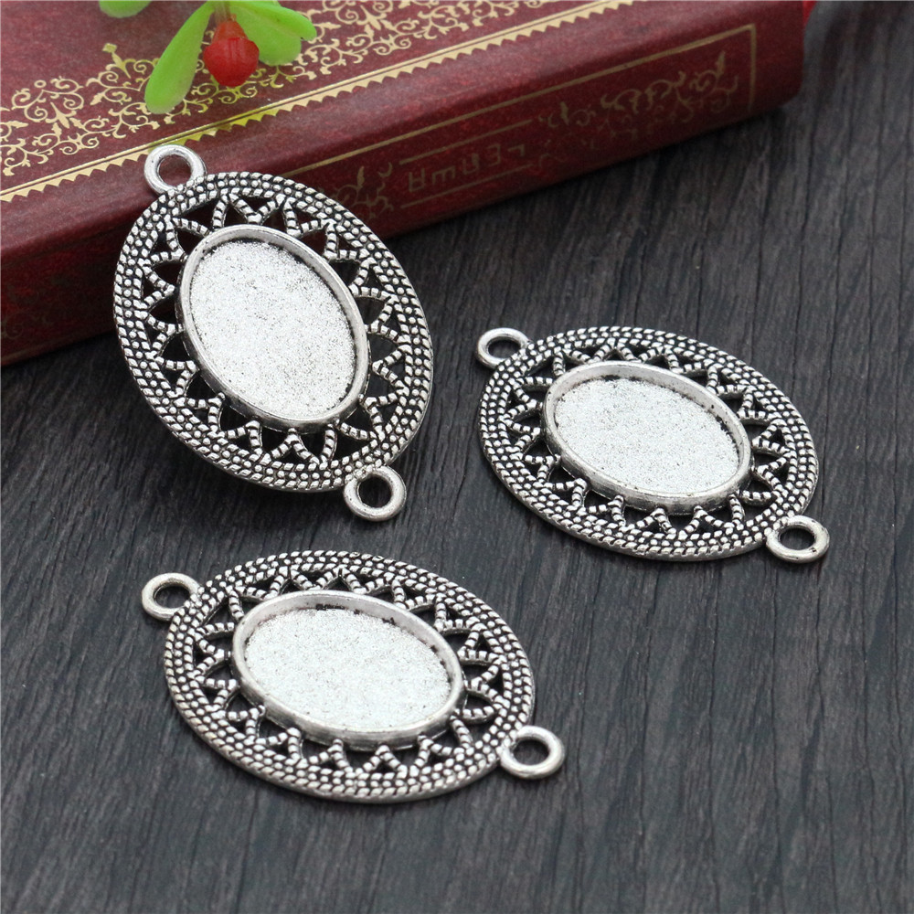 6pcs 13x18mm Inner Size Antique Silver Plated Simple Style Cameo Cabochon Base Setting Charms Pendant Necklace Findings  (D4-30)