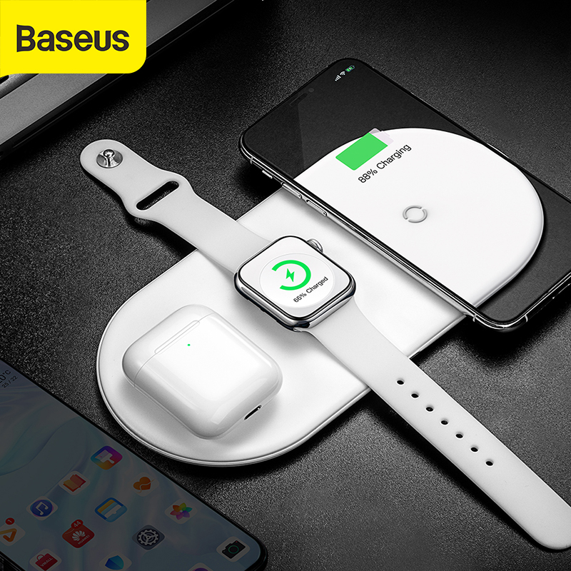 Baseus 3 in 1 Qi Wireless Charger For Apple Watch For iPhone X XS XR Samsung S10 18W Fast Charger For watch phone 11(China)