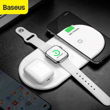 Baseus 3 in 1 Qi Wireless Charger For Apple Watch For iPhone X XS XR Samsung S10 18W Fast Charger For watch phone 11