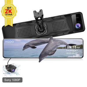 "HGDO 12"" Car DVR Hisilicon 2K 1440P RearView Mirror Sony Dual Lens FHD 1080P Car Rear Camera Dash Cam Video Recorder with Mount"