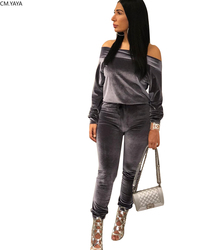 Autumn Winter Women's Set Solid Full Sleeve Tracksuits Slash Neck Top Pants Velvet Two Piece Set Casual Outfits Night Club 5133