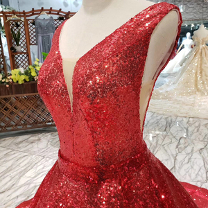 Image 5 - HTL185 red reflective dress A line shiny evening dresses sexy v neck v back sleeves wedding party dresses sparkly robe de soiree