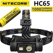 Nitecore HC65ไฟหน้า1000LM Tripleเอาท์พุทในร่มไฟฉายกันน้ำรวม3400Mah 18650แบตเตอรี่