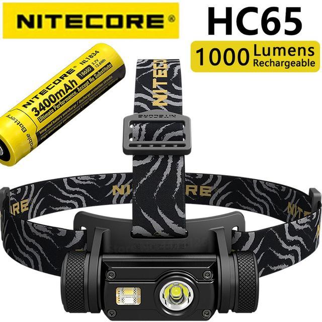 Nitecore faro HC65 Original de 1000LM para interior, triple salida, resistente al agua, con batería de 3400mah y 18650