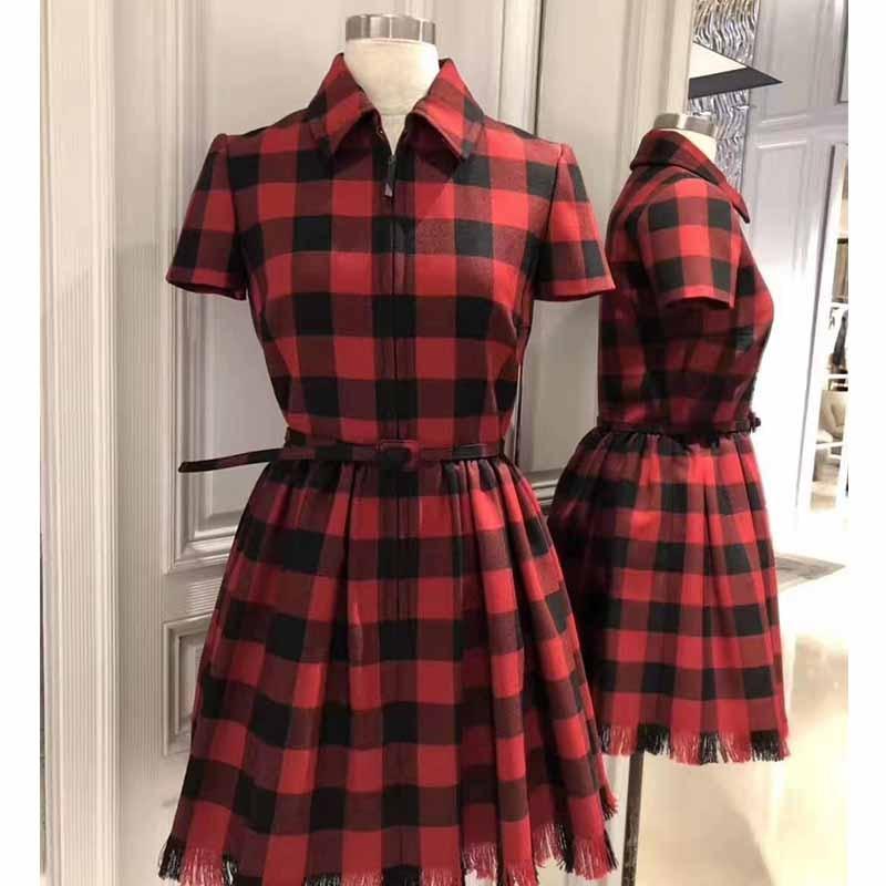 Cosmichic Autumn Winter 2019 Red Plaid Short Dress Shirt Zipper Dress Runway Vintage Gothic Modis Elegant Christmas Party Dress