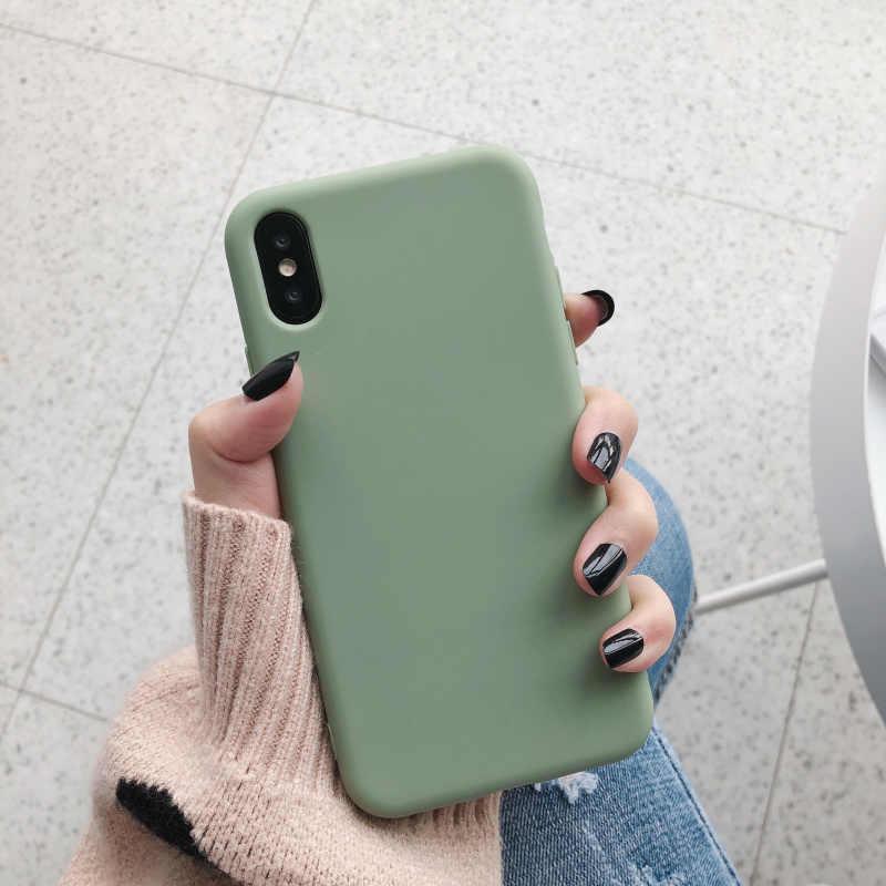 אופנה צבעים בוהקים יין אדום כחול מקרה עבור iphone 11 פרו XS MaX XR X רך TPU ירוק צבע עבור iphone 6 7 8 בתוספת חזרה כיסוי קאפה