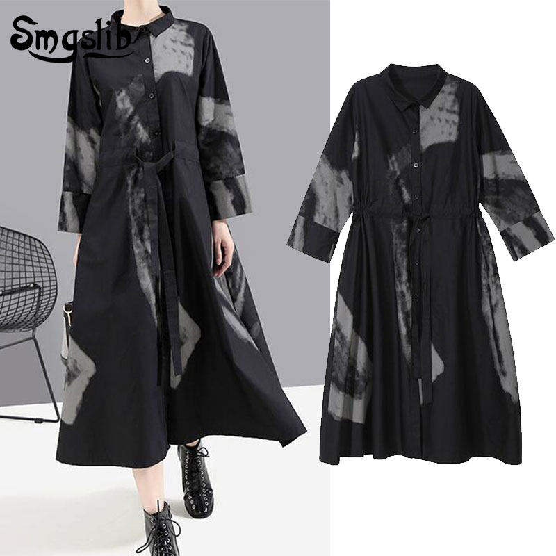 Women Black Print Hit Color Vintage Dress New Lapel Neck Long Sleeve Loose Fit Fashion Tide Spring Autumn 2019