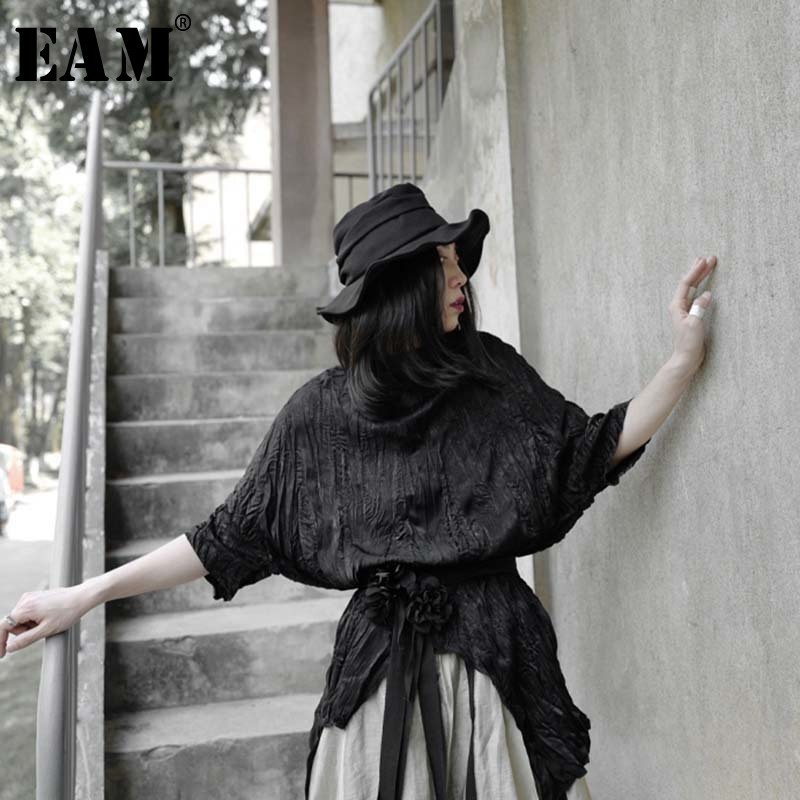 [EAM] Women Black Pleated Irregular Split Big Size T-shirt New Round Neck Half Sleeve  Fashion Tide  Spring Summer 2020 1W318 1