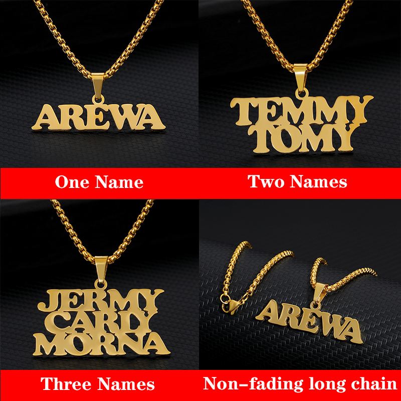 Personalized Double-Line Name Necklace Silver Gold Chain Stainless Steel Customized Handmade Names Necklace Best Friends Gift