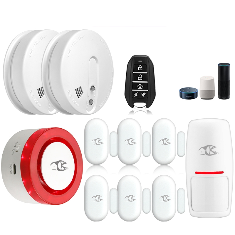 Smarsecur Wireless Smart Wifi Alarm Siren Kits Home Security System Auto-Dial With Smart Life App Control