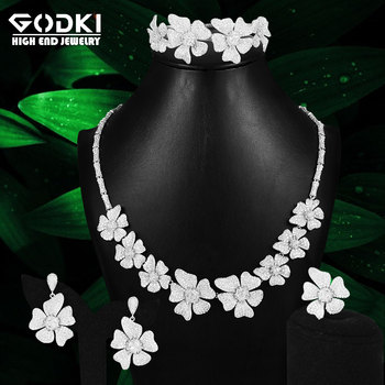 GODKI Spring Collection 4PC Daisy Flower Africa Cubic Zirconia Set Jewelry Set For Women Wedding Cubic Zirconia Dubai Bridal Set
